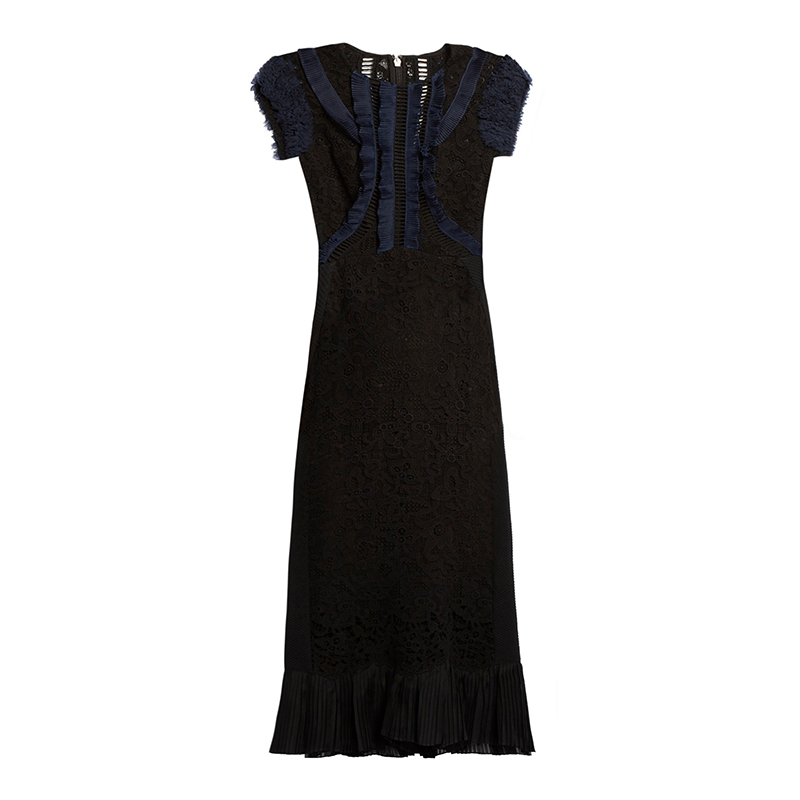 Rebecca Taylor Contrast-Panel Lace-Insert Dress