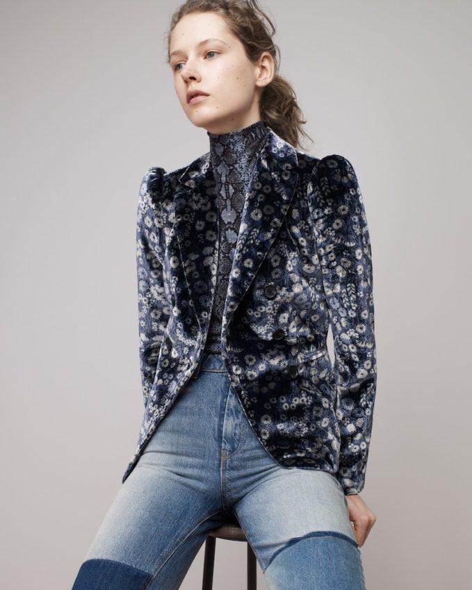 Rebecca Taylor Liane Double-Breasted Floral-Print Velvet Jacket