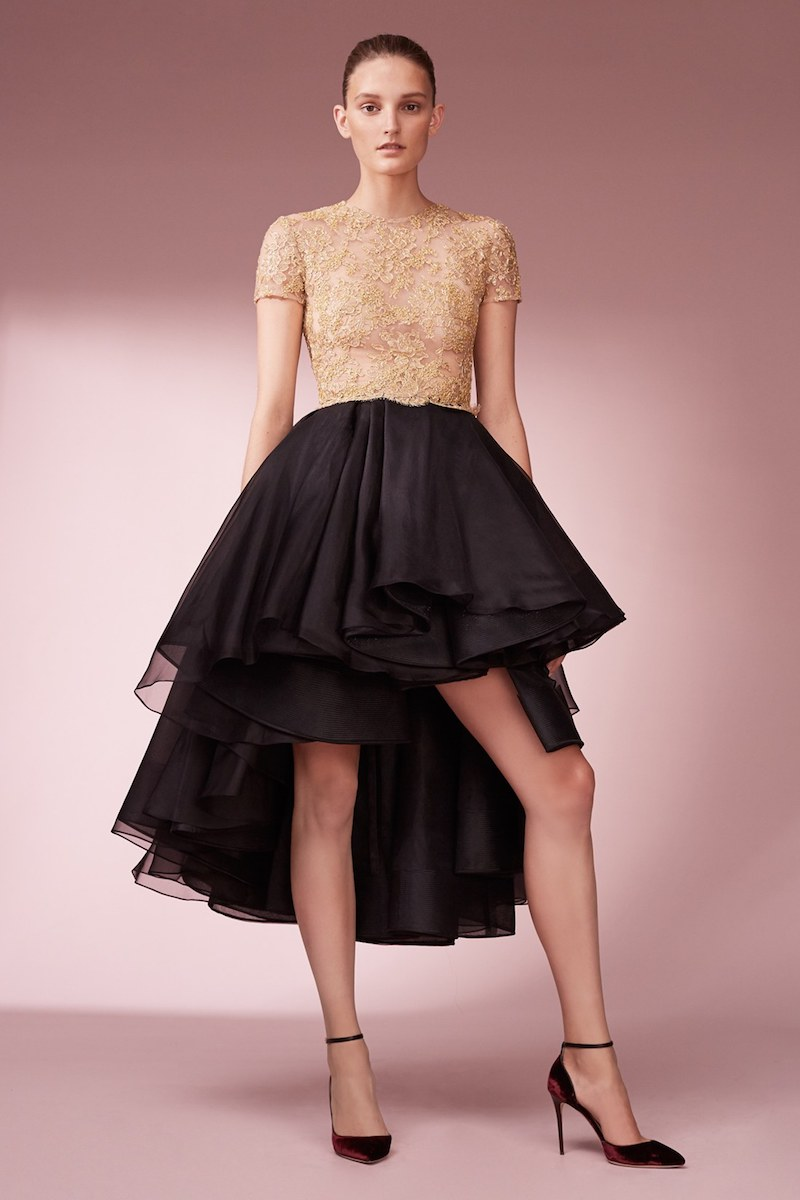 Reem Acra Reembroidered Lace & Organza High Low Dress