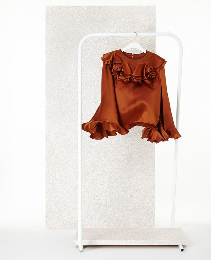 Roksanda Kayo Ruffled Silk-Satin Blouse