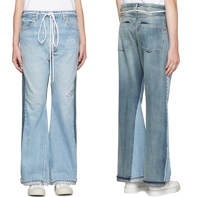 SSENSE Exclusive Levi s Made & Crafted x Off-White Indigo Arrow Straight Join Jeans