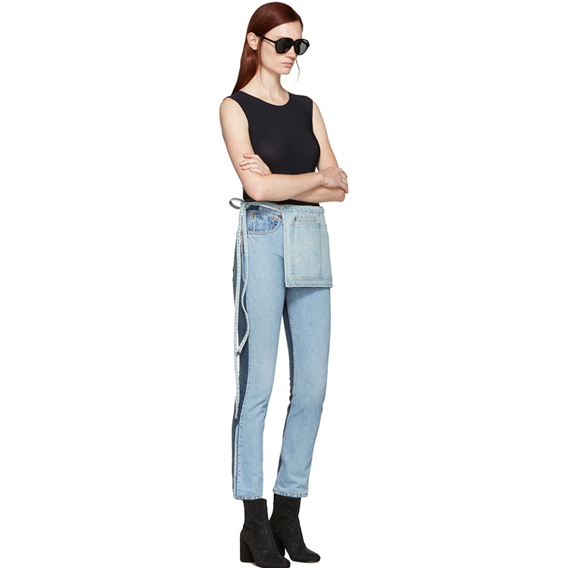 SSENSE Exclusive Levi s Made & Crafted x Off-White Indigo Twig High Slim Join Jeans