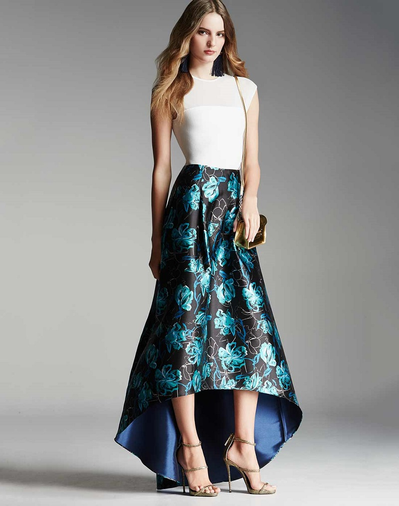 Sachin & Babi Noir Floral Jacquard High-Low Ball Skirt
