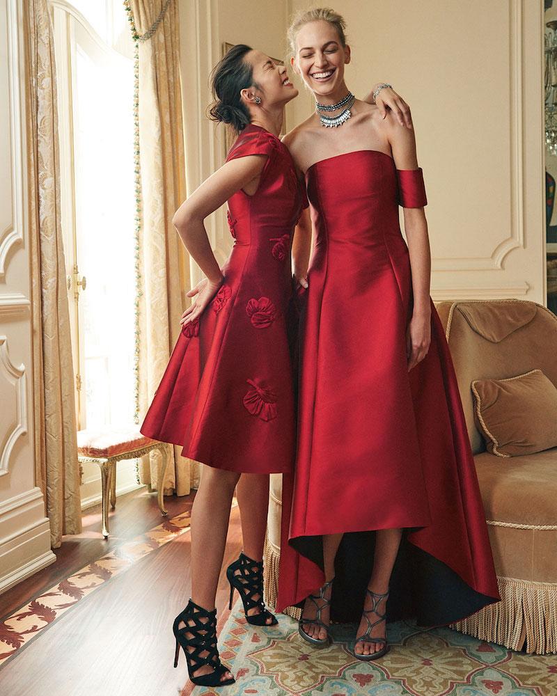 Sachin & Babi Strapless Satin High-Low Gown
