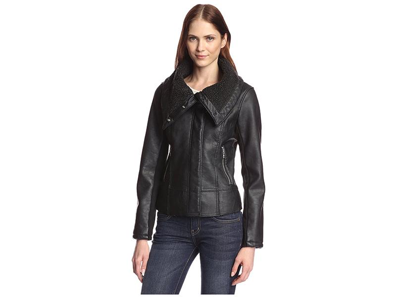 Sam Edelman Amy Faux Leather Aviator Moto Jacket