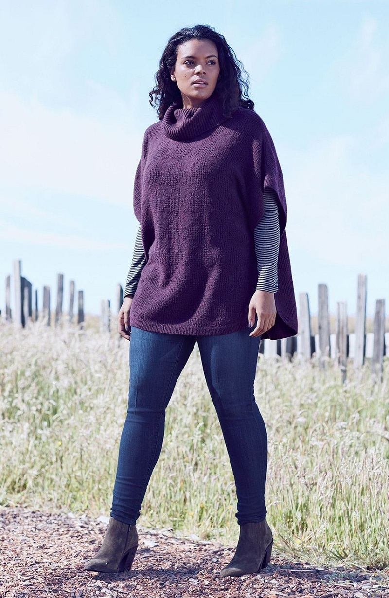 Sejour Cowl Neck Poncho Style Sweater