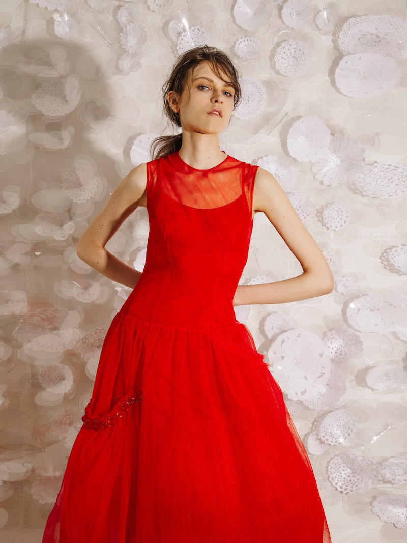 Simone Rocha Bead-Embellished Tulle Dress