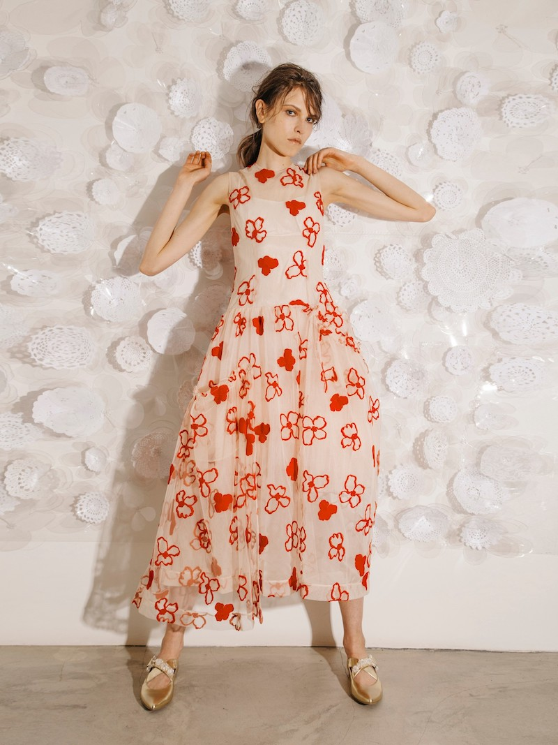 Simone Rocha Spooky Flower-Embroidered Midi Dress