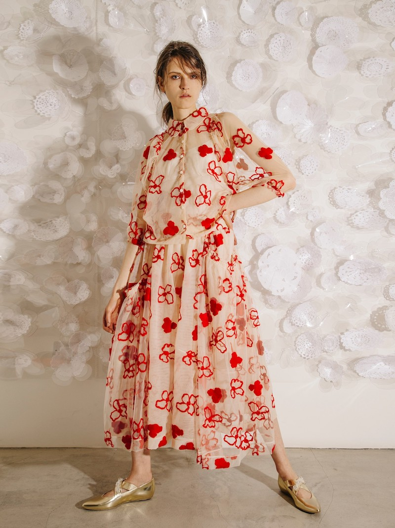 Simone Rocha Spooky Flower-Embroidered Midi Skirt
