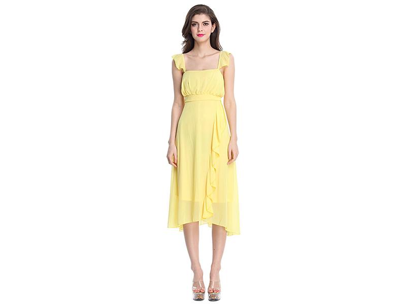 Sue&Joe Party Dress Ruffles Empire Waist Flowy Summer Bridesmaids Dress