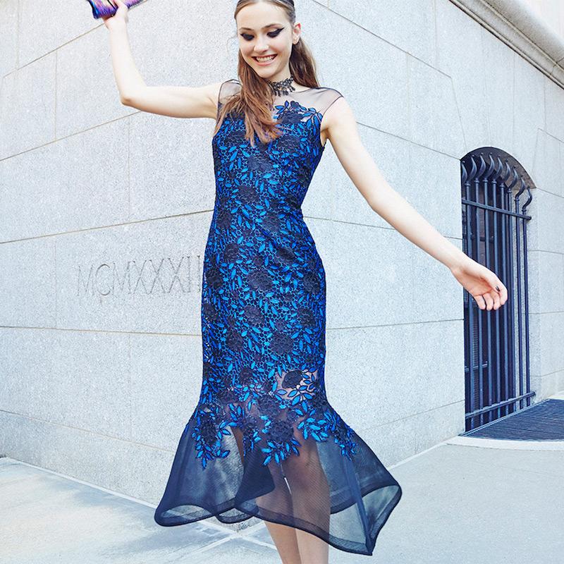 Teri Jon by Rickie Freeman Illusion Lace Midi Dress