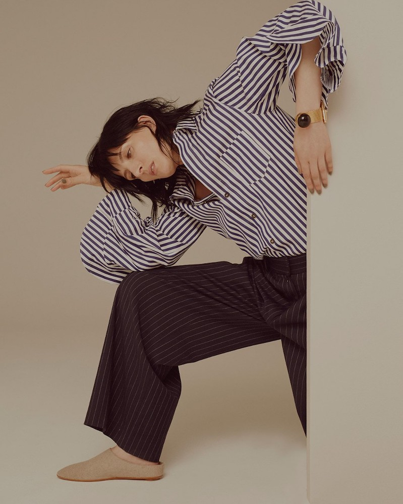 Toga Ruffled-cuff striped cotton shirt