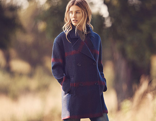 Tommy Hilfiger Double Breased Oversized Plaid Wool Coat