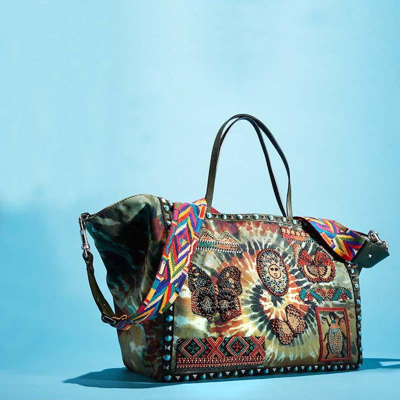 Valentino Rockstud Rolling Large Beaded Tie-Dye Tote Bag