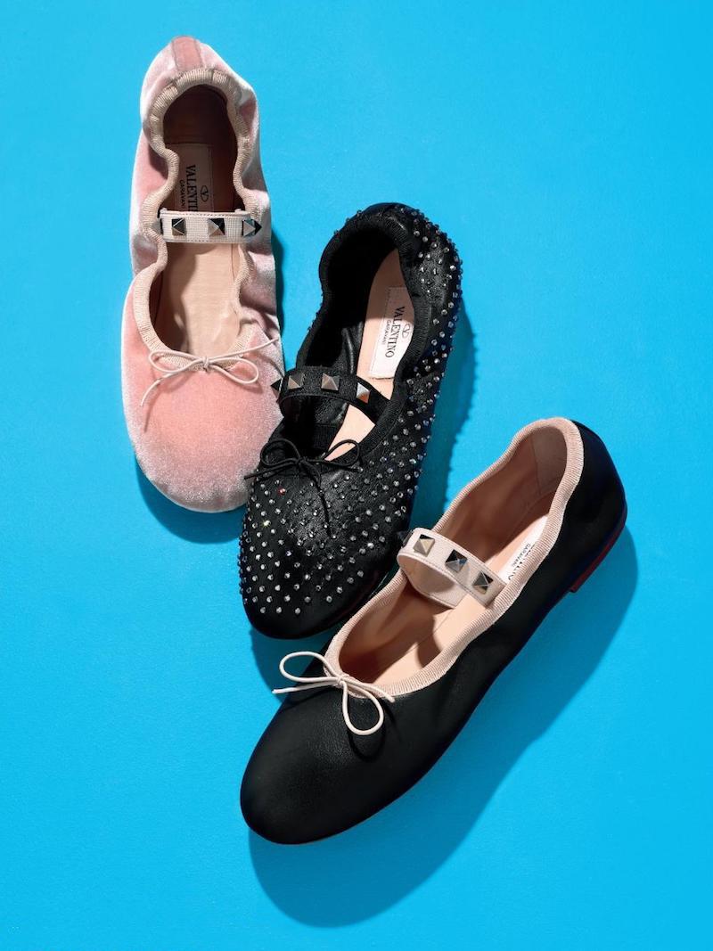 Valentino Rockstud Velvet Ballet Flats