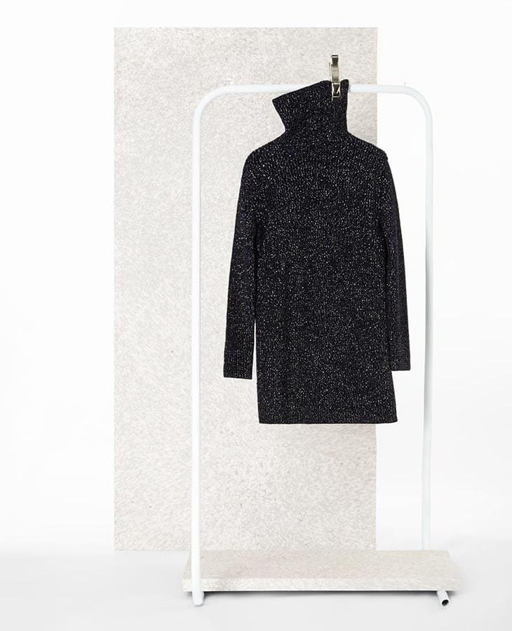 Valentino Turtleneck Metallic-Knit Dress