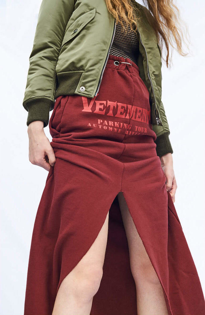 Vetements Logo Printed Cotton Jersey Maxi Skirt