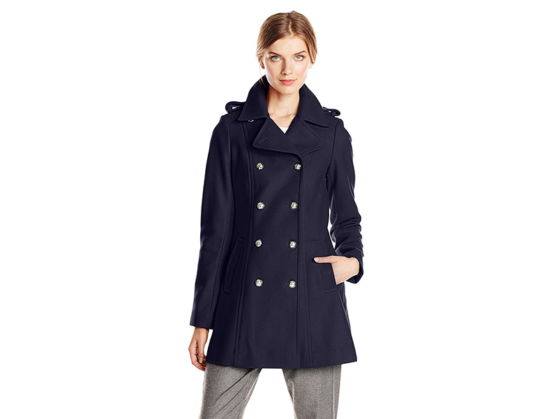 Via Spiga Double-Breasted Military Wool-Blend Coat