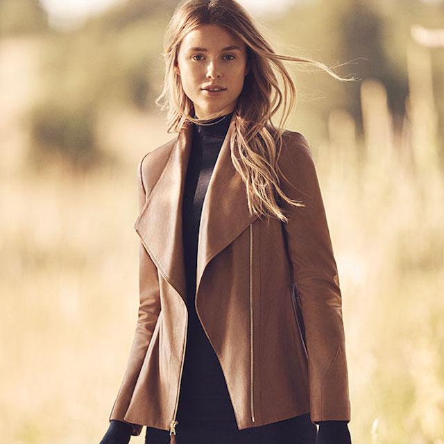 Via Spiga Real Lightweight Leather and Ponte Jacket