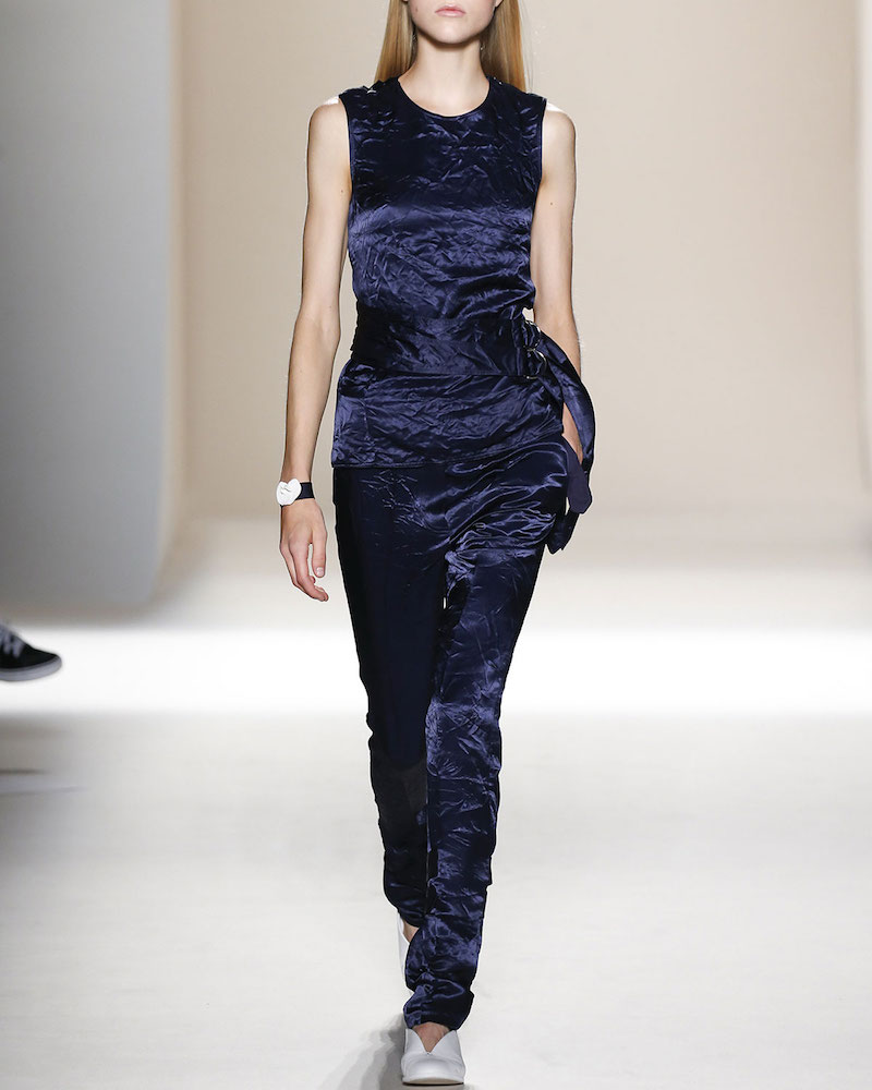 Victoria Beckham Belted Backless Sleeveless Velvet Top