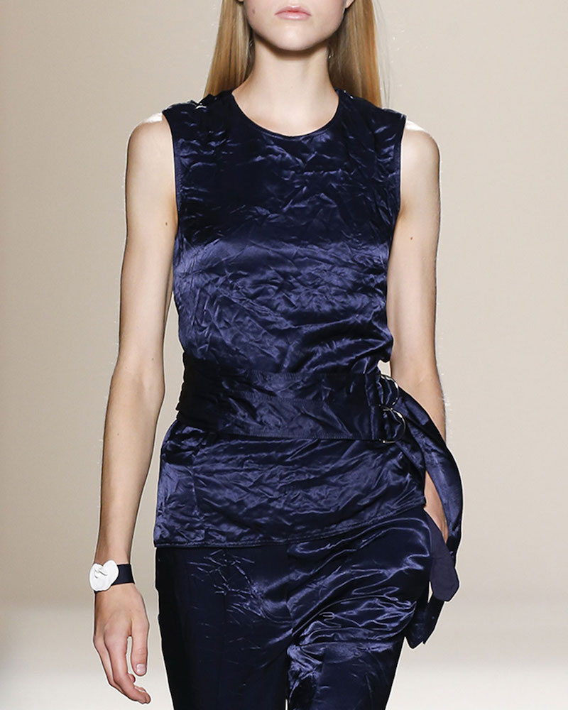 Victoria Beckham Belted Backless Sleeveless Velvet Top