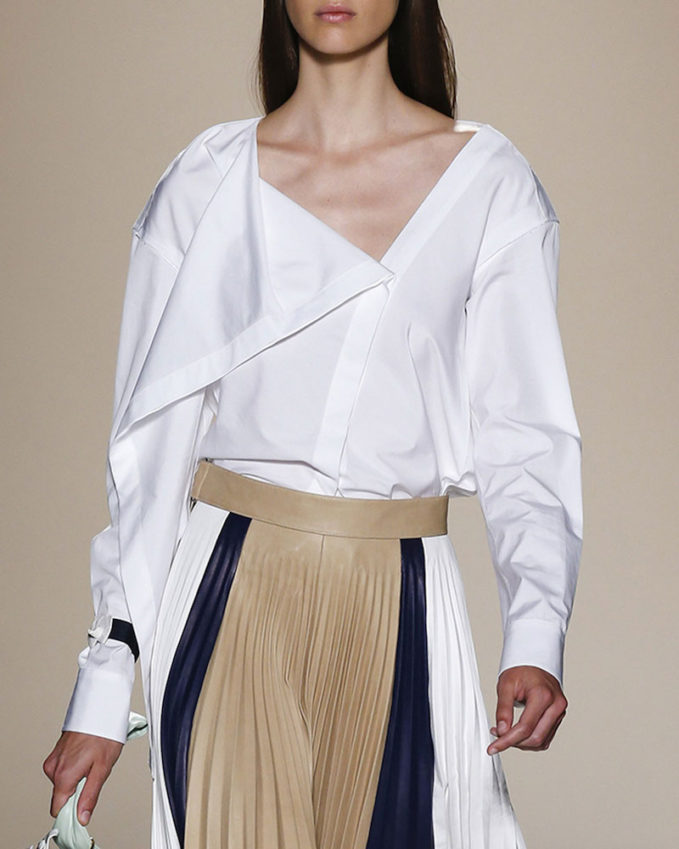Victoria Beckham Draped Asymmetric Cotton Blouse