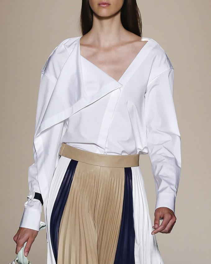 Victoria Beckham Draped Asymmetric Cotton Blouse