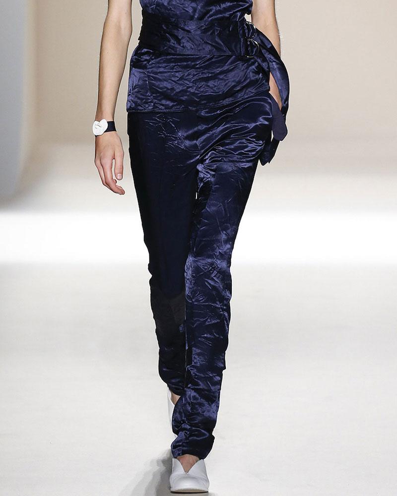 Victoria Beckham Single-Buckle Slim Velvet Trousers