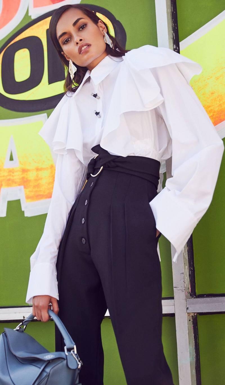 Victoria Beckham Wool Gabardine High Waisted Trousers
