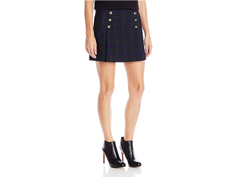 "XOXO Plaid Print 16""Button Front Skirt"