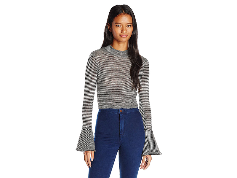 XOXO Striped Mockneck Cropped Bell Sleeve Sweater