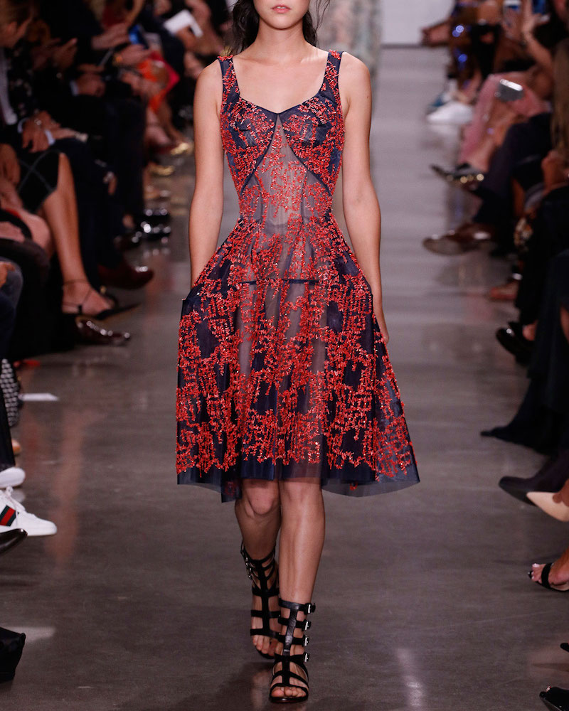 Zac Posen Beaded Tulle Sleeveless Fit-&-Flare Dress