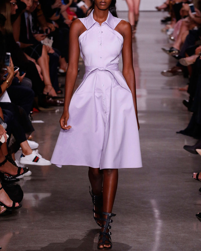 Zac Posen Sleeveless Knot-Waist A-Line Shirtdress