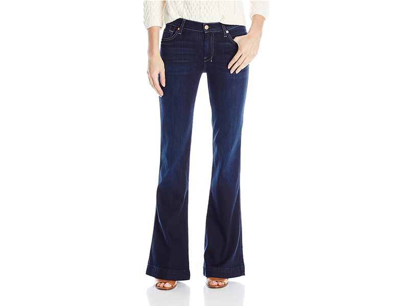 7 For All Mankind Slim Trouser Flare Jean In Classic Dark Indigo