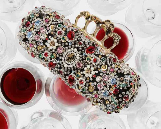 Alexander McQueen Jeweled Knuckle Box Clutch Bag