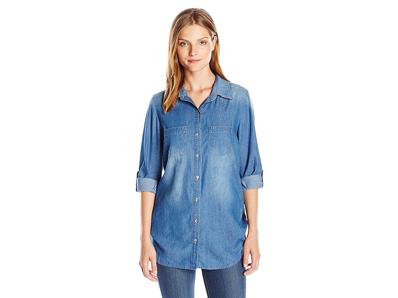 Allison Brittney Roll-Tab Sleeve Denim Chambray Tunic