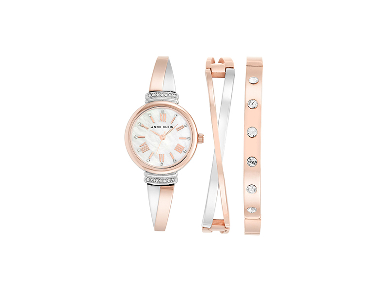 Anne Klein Swarovski Crystal Accented Rose Gold-Tone and Silver-Tone Bangle Watch and Bracelet Set