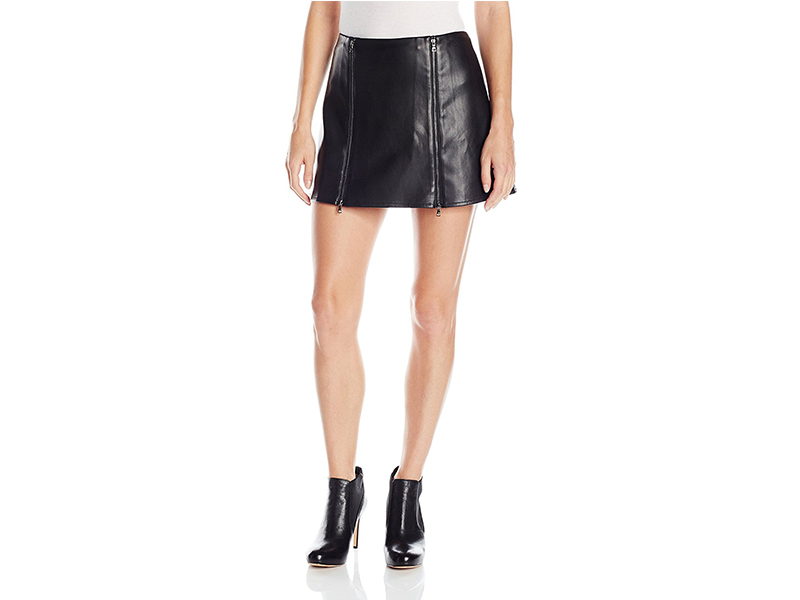 BCBGMAXAZRIA Myra Double Zipped Leather Skirt
