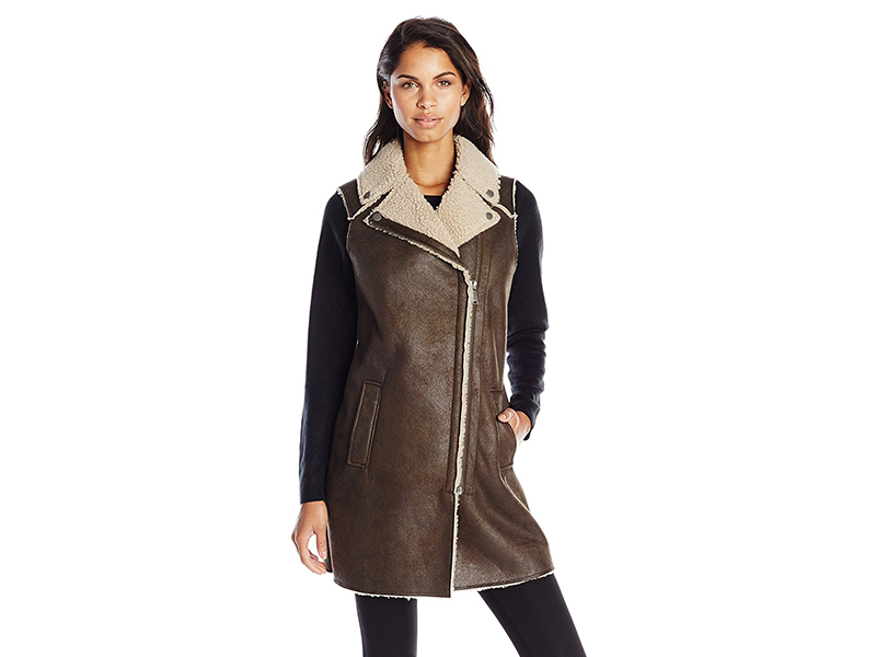 BCBGeneration Long Faux Shearling Moto Vest