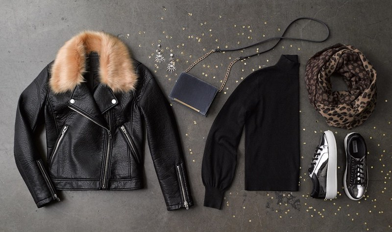 BLANKNYC Faux Fur Collar Faux Leather Moto Jacket