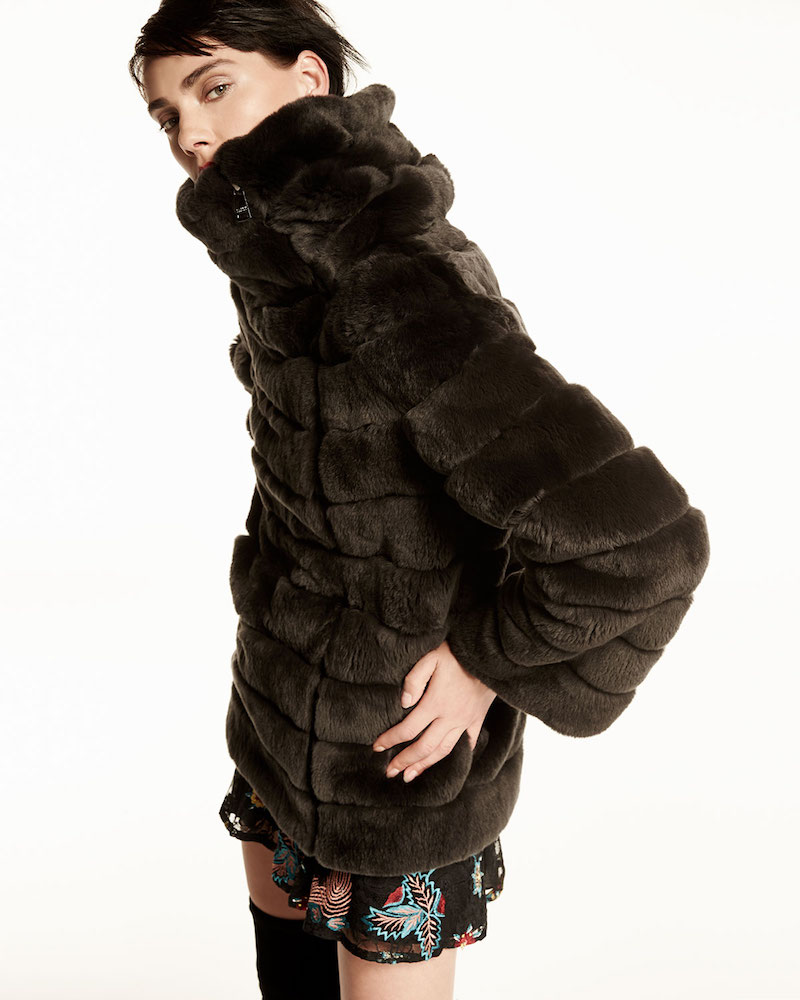 Belle Fare Banded Asymmetric Fur Coat