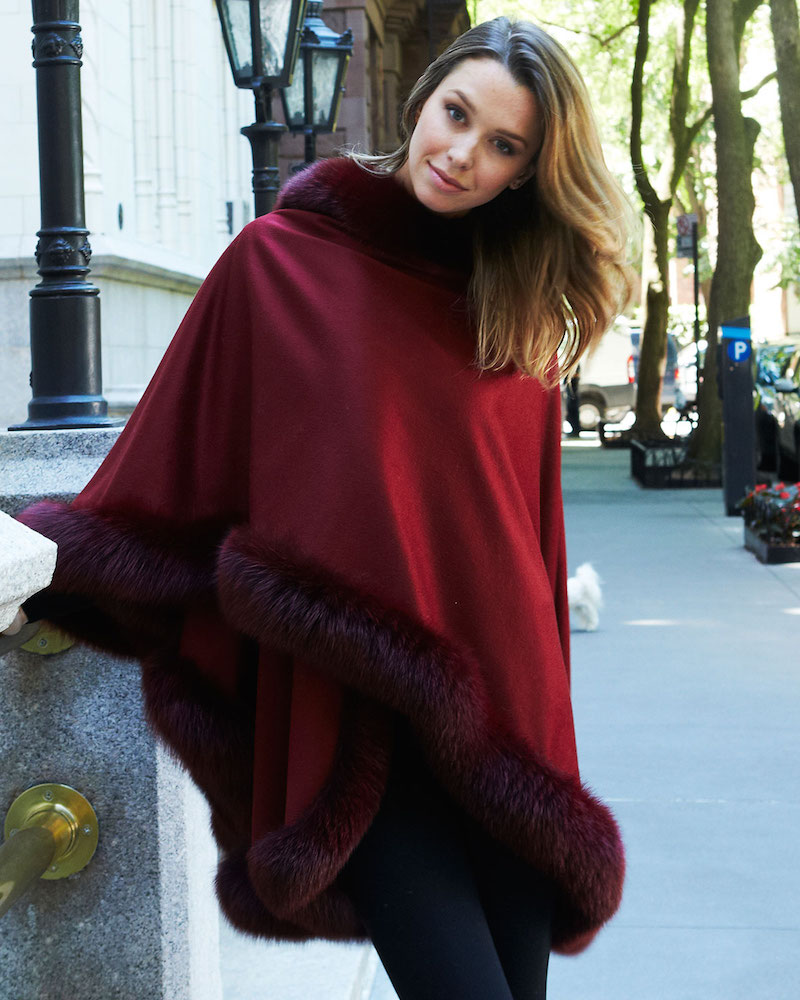 Bergdorf Goodman Cashmere Fox Fur-Trim Cape in Brick