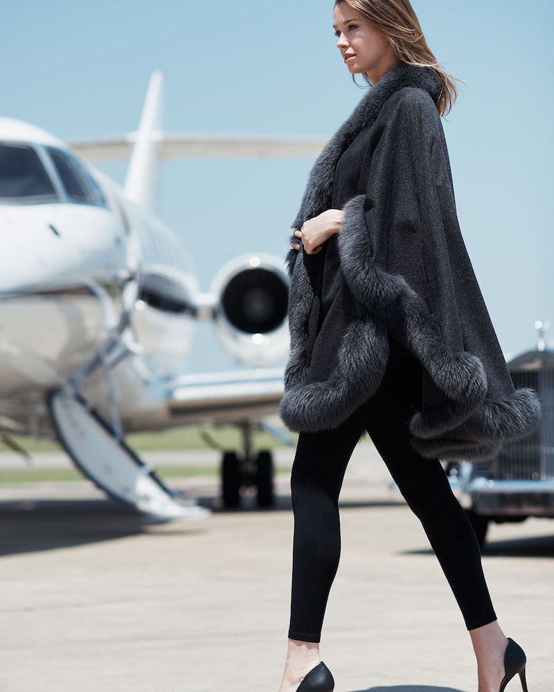 Bergdorf Goodman Cashmere Fox Fur-Trim Cape in Charcoal