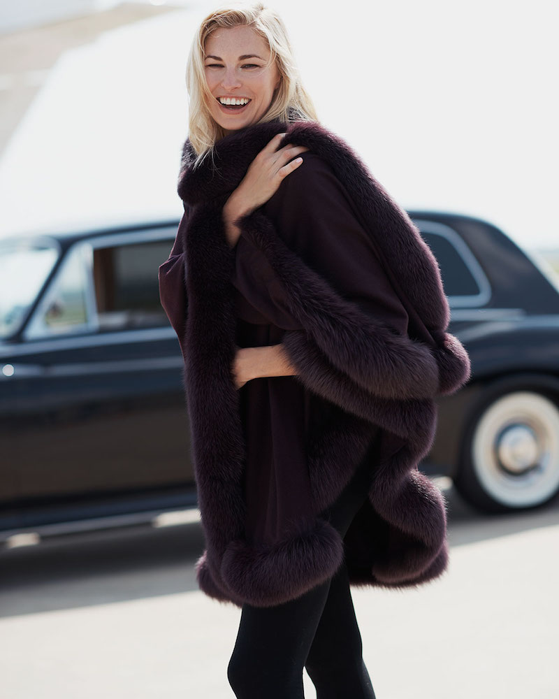 Bergdorf Goodman Cashmere Fox Fur-Trim Cape in Grape