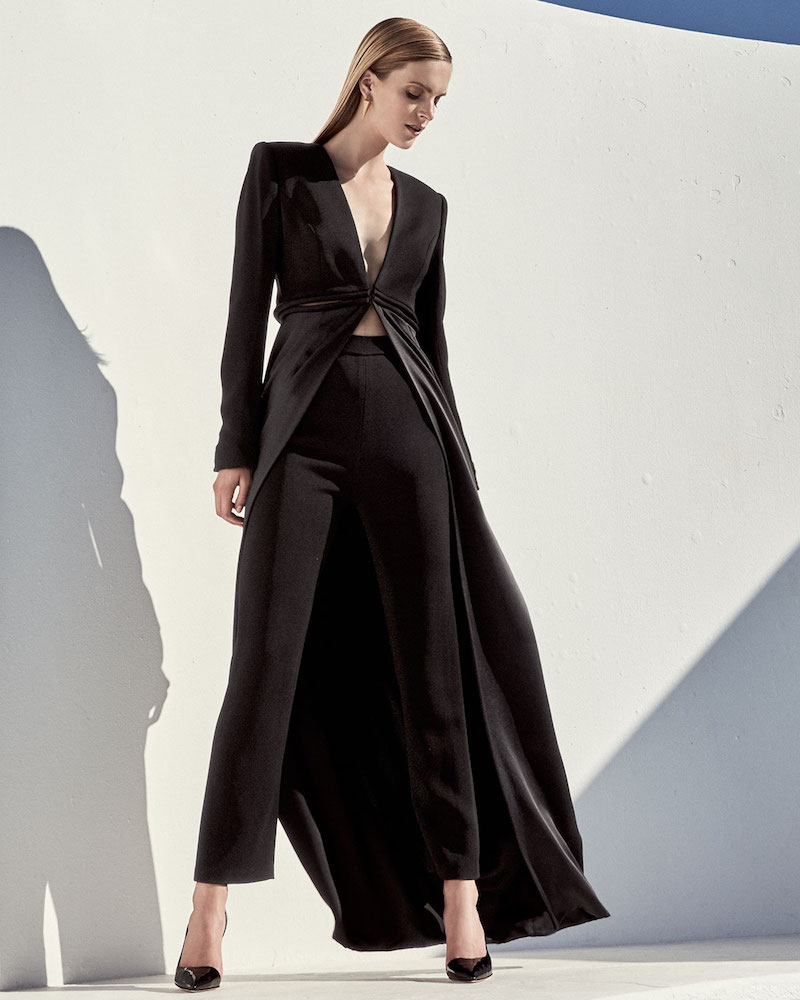 Brandon Maxwell V-Neck Cutout-Waist Long Coat