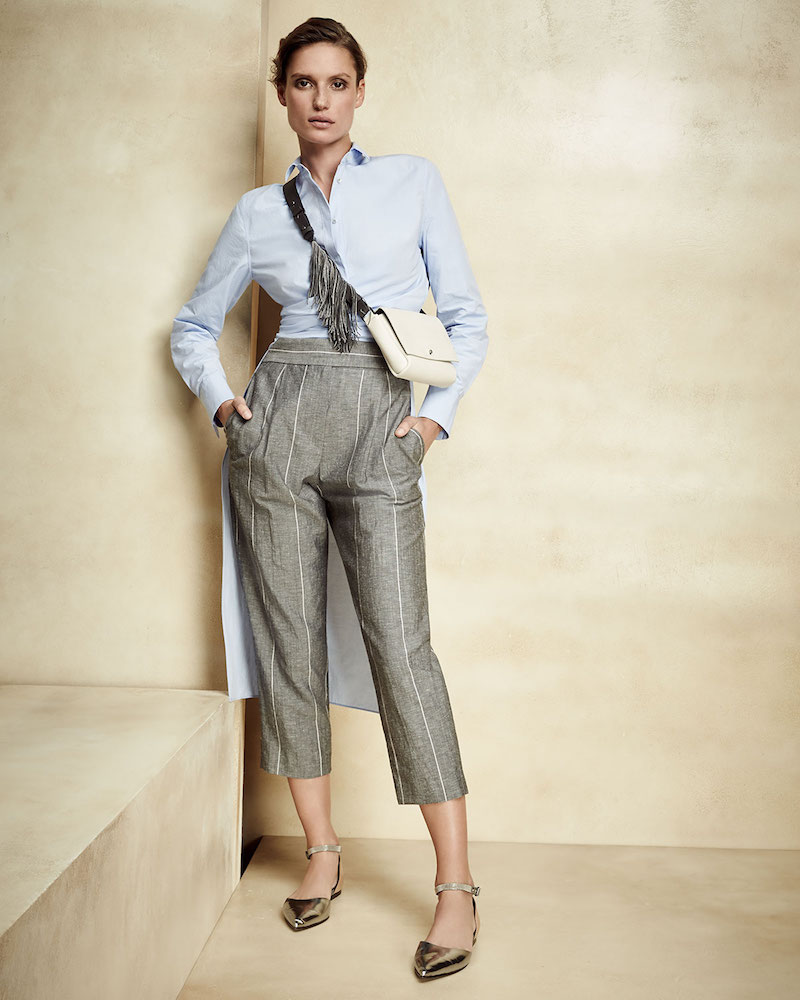 Brunello Cucinelli Monili-Stripe Single-Pleat Cropped Pants