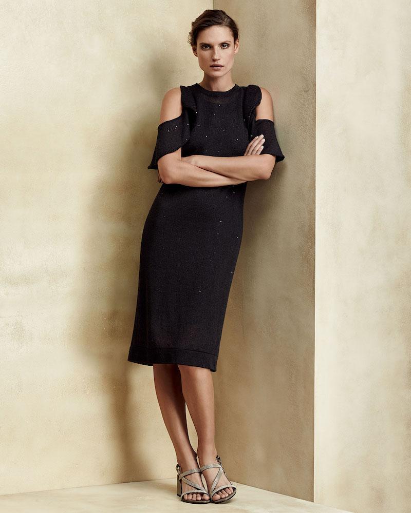 Brunello Cucinelli Paillette Ruffled Cold-Shoulder Dress