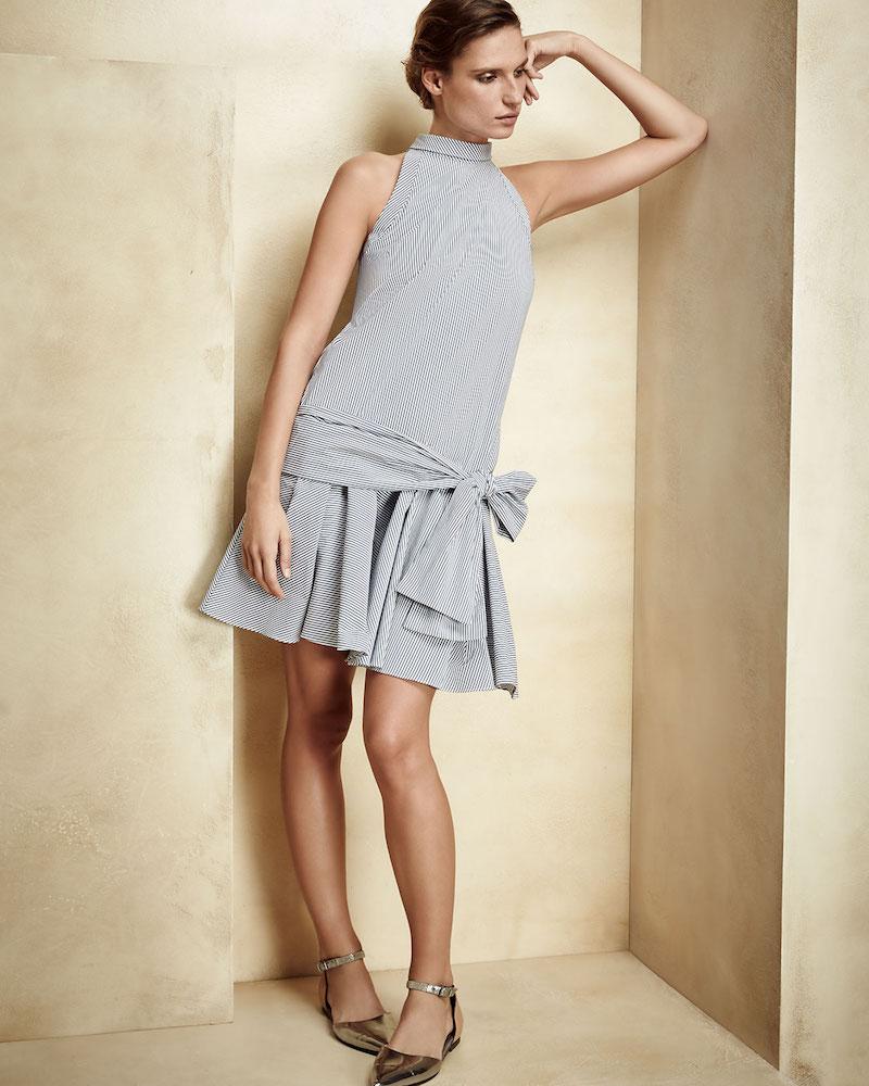 Brunello Cucinelli Striped Drop-Waist Sleeveless Dress