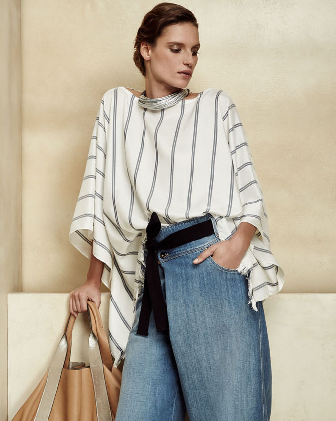 Brunello Cucinelli Striped Fringe-Hem Silk Poncho