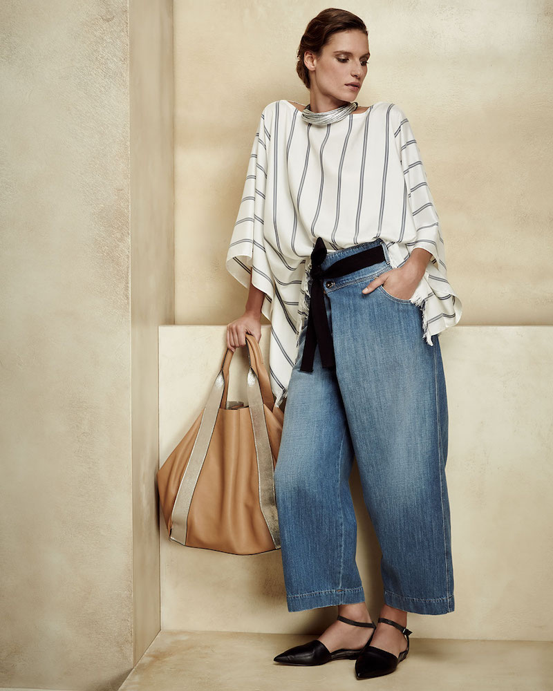 Brunello Cucinelli Wide-Leg Crossover Cropped Jeans